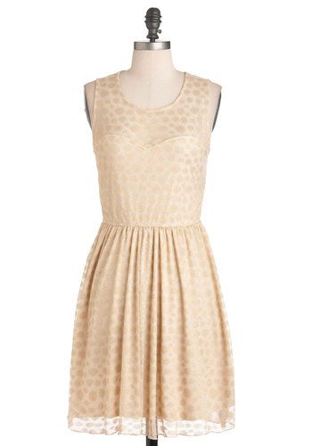 Wheatberry Beautiful Dress - Cream, Gold, Polka Dots, Party, Vintage Inspired, A-line, Sleeveless, Sheer, Short