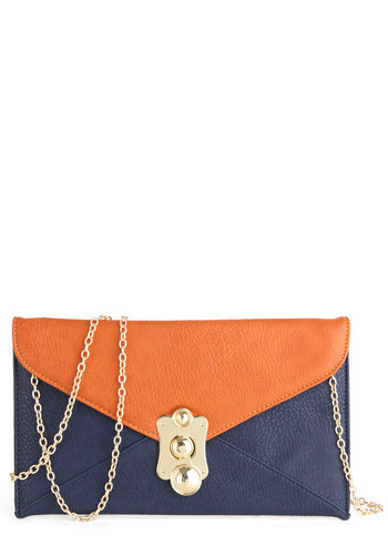 Mail the Seven Seas Bag - Orange, Solid, Blue, Chain, Girls Night Out, Blue
