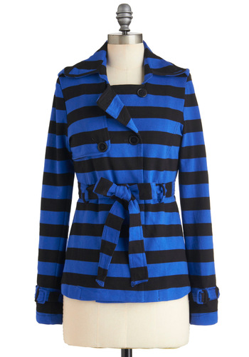Don't Stripe Believing Jacket - Blue, Black, Stripes, Buttons, Belted, Long Sleeve, Cotton, Mid-length, 1, Casual, Fall, Holiday Sale