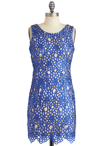 Tidal Party Dress - Blue, Tan / Cream, Floral, Crochet, Party, Cocktail, Sheath / Shift, Sleeveless, Mid-length