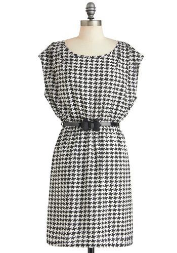 Moment of Houndstooth Dress - Black, White, Houndstooth, Belted, Work, Vintage Inspired, Short Sleeves, Mid-length, Bows, Sheath / Shift, Holiday Sale