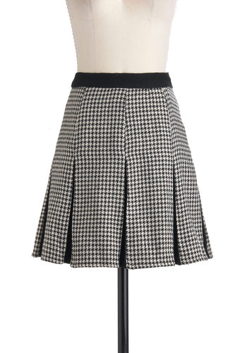 Houndstooth Be Told Skirt - Short, Black, White, Houndstooth, Pleats, Work, Vintage Inspired, A-line, Holiday Sale