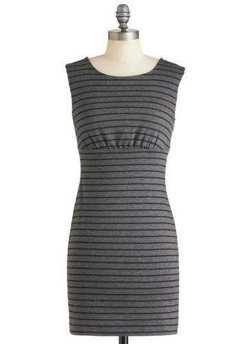Work Hard, Grey Hard Dress - Short, Grey, Stripes, Buttons, Cutout, Casual, Urban, Tis the Season Sale