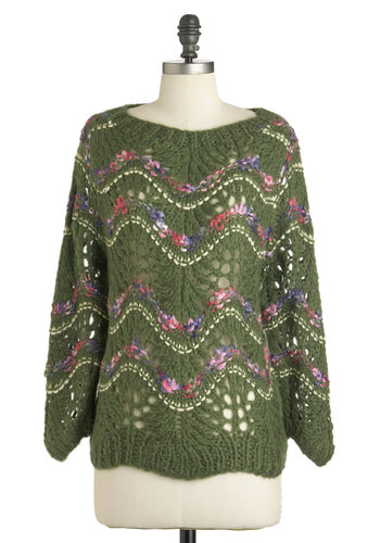 Primrose-Lined Pathway Sweater - Mid-length, Green, Purple, Pink, White, Knitted, Long Sleeve, Fall, Floral, Casual