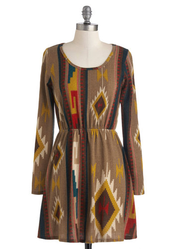 South by South-best Dress - Brown, Multi, A-line, Long Sleeve, Print, Fall, Short, Casual, Folk Art, Rustic, Boho, Holiday Sale, Scoop