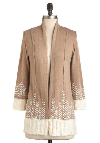 Winter Wheat Cardigan - Brown, Tan / Cream, Long Sleeve, Fall, Casual, Rustic, Mid-length