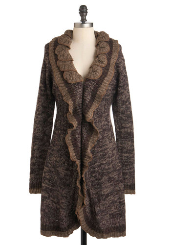 Love Me Timber Cardigan - Brown, Solid, Knitted, Casual, Fall, Rustic