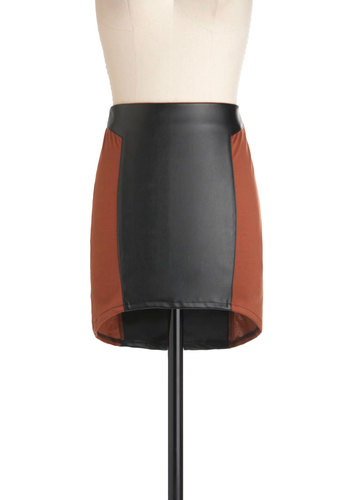 A Rusted Development Skirt - Brown, Black, Party, Girls Night Out, Colorblocking, Mini, Urban, Short