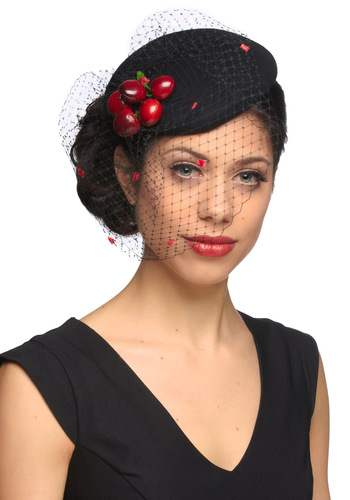 The Berry Thought of You Hat by Ophelie Hats - Black, Red, Solid, Formal, Vintage Inspired, 40s, Party, Statement
