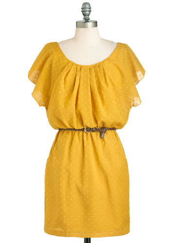 It Mustard Been Love Dress - Yellow, Belted, Casual, Short Sleeves, Short, Pockets, Shift