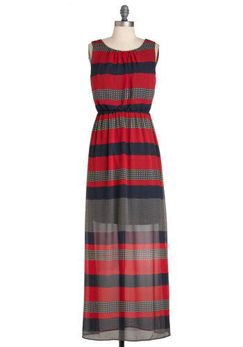 Pattern Making Intern Dress - Multi, Stripes, Casual, Maxi, Sleeveless, Long, Red, Blue, Tan / Cream, Houndstooth, Daytime Party, Nautical