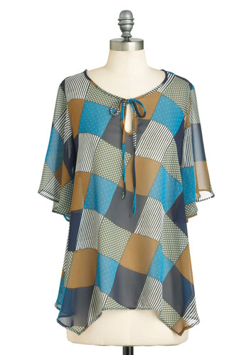 In the Stitch of Time Top - Multi, Blue, Brown, White, Casual, Short Sleeves, Mid-length