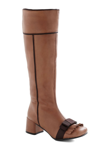 Fringe Alps Boot - Tan, Bows, Mid, Chunky heel, Leather, Vintage Inspired, Luxe, Fall, Brown
