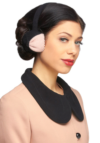 Chelsea Pearls Earmuffs - Black, Pink, Pearls, Winter