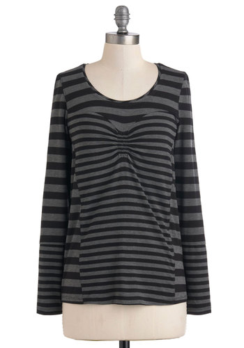 Striped Sweetheart Top - Mid-length, Black, Grey, Stripes, Casual, Long Sleeve