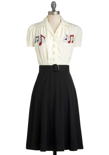 Choral Director Dress - Black, Buttons, Embroidery, Belted, Casual, Shirt Dress, Short Sleeves, Collared, White, Music, Long, Rockabilly, Vintage Inspired, 40s, 50s