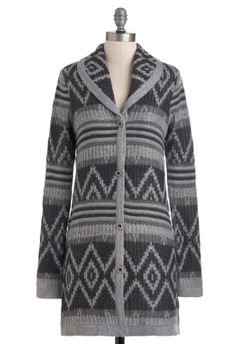 Smoky Mountain Getaway Cardigan - Grey, Print, Buttons, Casual, Long Sleeve, Fall, Knitted, Long