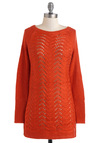 Bountiful Harvest Sweater in Pumpkin - Sheer, Solid, Knitted, Casual, Long Sleeve, Fall, Mid-length
