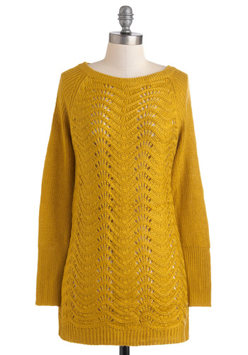 Bountiful Harvest Sweater in Maize - Yellow, Solid, Knitted, Casual, Long Sleeve, Fall, Mid-length