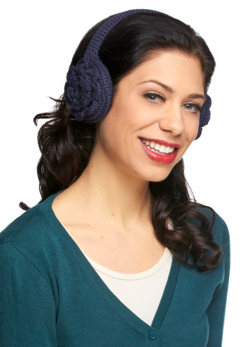 How Does Your Garden Indigo Earmuffs - Blue, Solid, Crochet, Rustic, Winter, Flower