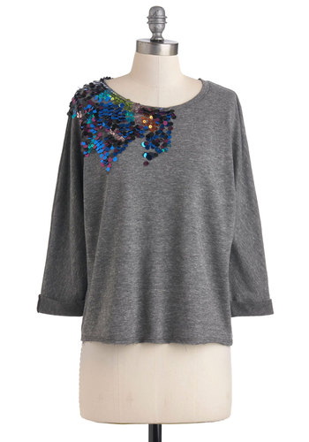 Flashes of Bright Top - Grey, Multi, Sequins, Casual, Mid-length, 3/4 Sleeve