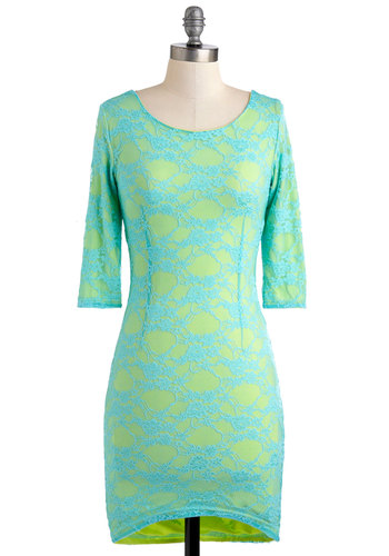 What You're Mermaid Of Dress - Green, Blue, Floral, Lace, Girls Night Out, Bodycon / Bandage, 3/4 Sleeve, Mini, Short, International Designer, Neon