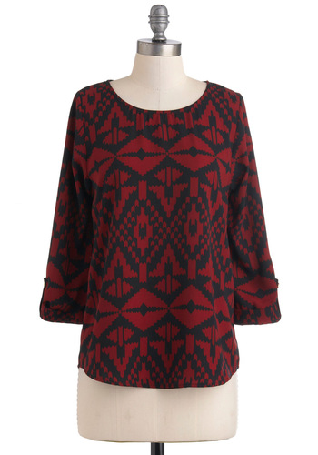 Zoom Bisou Top in Abstract Geometry - Red, Black, 3/4 Sleeve, Mid-length, Print, Casual, Folk Art, Fall
