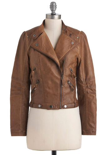 Bourbon Legend Jacket - Short, Faux Leather, Brown, Solid, Long Sleeve, 2, Exposed zipper, Casual, Urban