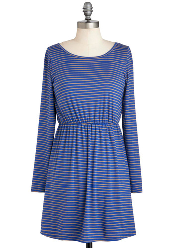 Le Peek C'est Chic Dress - Blue, Tan / Cream, Stripes, Cutout, Casual, Long Sleeve, Short, A-line, Holiday Sale, Travel