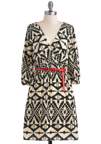 Well-Read All Over Dress - Print, Casual, Mid-length, Sheer, Tan / Cream, Black, Belted, A-line, Long Sleeve, Work, Gifts Sale