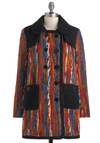 Spirited Oasis Coat - Multi, Red, Blue, Brown, Multi, Print, Buttons, Pockets, Double Breasted, Long Sleeve, Fall, Collared, Long, 3, Boho, 70s