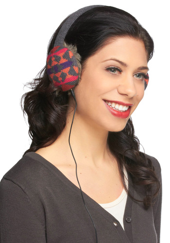 Speaker Softly Headphone Earmuffs in Triangles - Grey, Multi, Print, Knitted, Rustic, Winter, Holiday