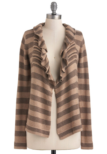 See What You Serene Cardigan - Mid-length, Brown, Tan / Cream, Stripes, Ruffles, Casual, Long Sleeve, Holiday Sale, Tis the Season Sale