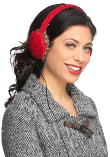 Speaker Softly Headphone Earmuffs in Ruby - Red, Solid, Knitted, Rustic, Winter, Holiday