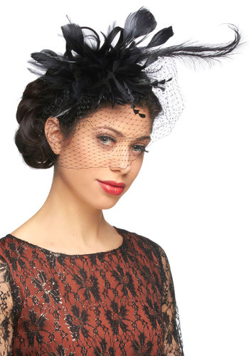 Flair Stylist Fascinator - Black, Feathers, Formal, Wedding, Holiday Party, Vintage Inspired, Statement