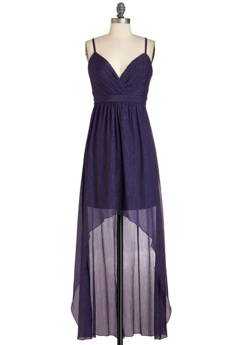 Plum Here to Eternity Dress by Max and Cleo - Purple, Party, Luxe, Spaghetti Straps, Chiffon, Mid-length, High-Low Hem