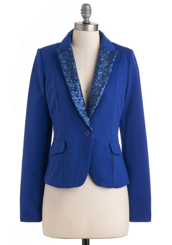 Cobalt in the Name of Love Blazer - Short, 2, Blue, Solid, Buttons, Sequins, Party, Girls Night Out, Holiday Party, Vintage Inspired, 80s, Long Sleeve