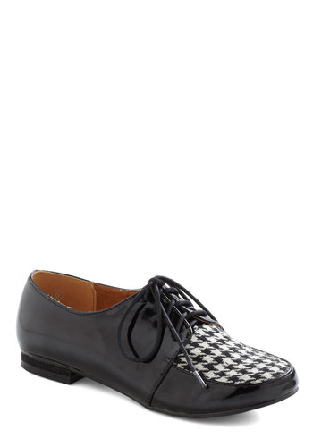 Checkered, Please Flat - Black, White, Houndstooth, Menswear Inspired, Flat, Lace Up, Faux Leather, Winter, Tis the Season Sale