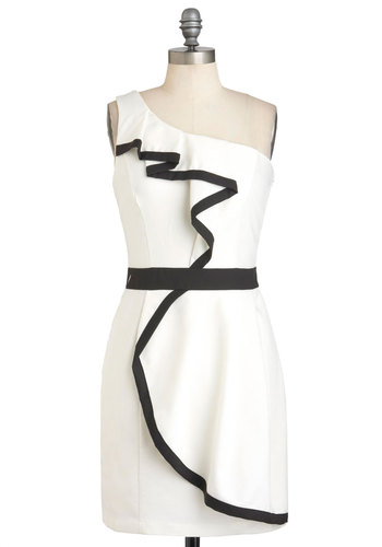 Jazz Piano Recital Dress - White, Black, Trim, Wedding, One Shoulder, Mid-length, Sheath / Shift, Party, Graduation, Bride