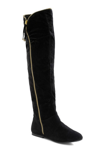 Show Must Go Onyx Boot - Black, Exposed zipper, Urban, Solid, Flat