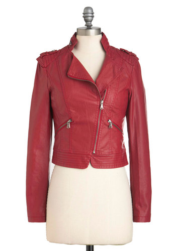 Fire Brick and Motor Jacket - Faux Leather, Short, 2, Red, Solid, Party, Girls Night Out, Vintage Inspired, 80s, Urban, Long Sleeve, Exposed zipper, Pockets, Fall