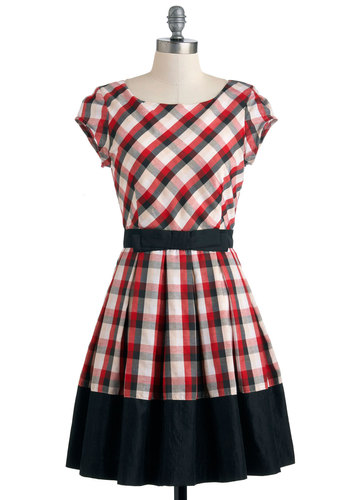 Life is a Maize Dress in Plaid by Dear Creatures - Black, White, Plaid, Pleats, Casual, Fit & Flare, Fall, Mid-length, Red, Cap Sleeves, Bows