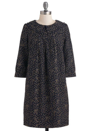 Pretty That Never Sleeps Dress by Dear Creatures - Blue, Polka Dots, Pockets, Casual, Mid-length, Tan / Cream, Peter Pan Collar, Sheath / Shift, Collared, 3/4 Sleeve, 20s