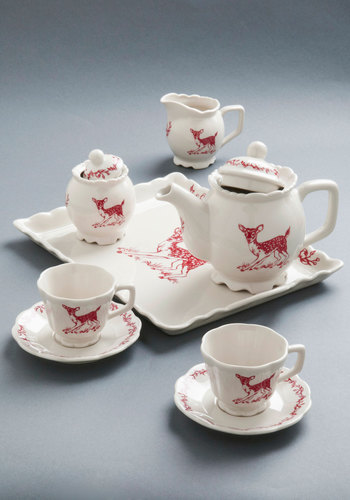 Charmed to a Tea Set - Vintage Inspired, Folk Art, Rustic, White, Red, Print with Animals