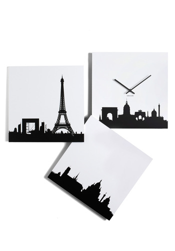 Paris je Time Wall Clock by Present Time - White, Black, Dorm Decor, Urban, Minimal