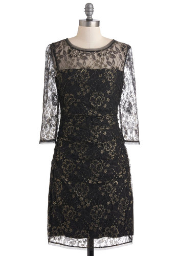 Dame of Chance Dress - Black, Gold, Lace, Shift, Sheer, Mid-length, Floral, Holiday Party, 3/4 Sleeve