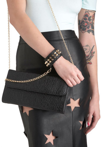 Half-Day Bag - Black, Gold, Solid, Chain, Studs