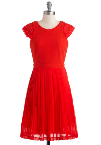 Fete Fabulous Dress - Mid-length, Red, Solid, Pleats, Party, A-line, Cap Sleeves