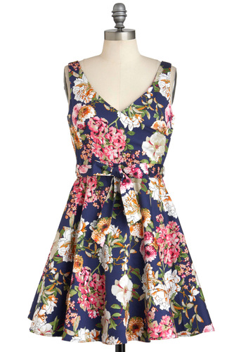 It's Bouquet with Me Dress - Cotton, Short, Blue, Multi, Floral, Belted, Daytime Party, Fit & Flare, Sleeveless, Graduation