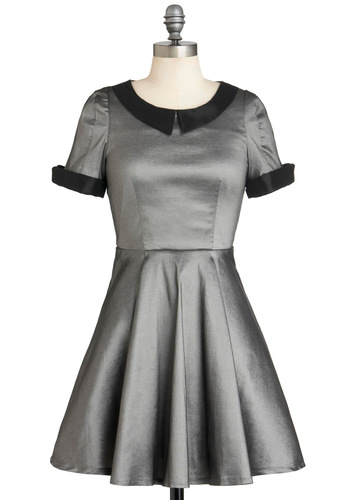 Moon Rock Collection Dress - Mid-length, Silver, Black, Solid, Peter Pan Collar, Party, Vintage Inspired, Short Sleeves